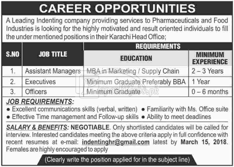 Indenting Company Jobs 2018