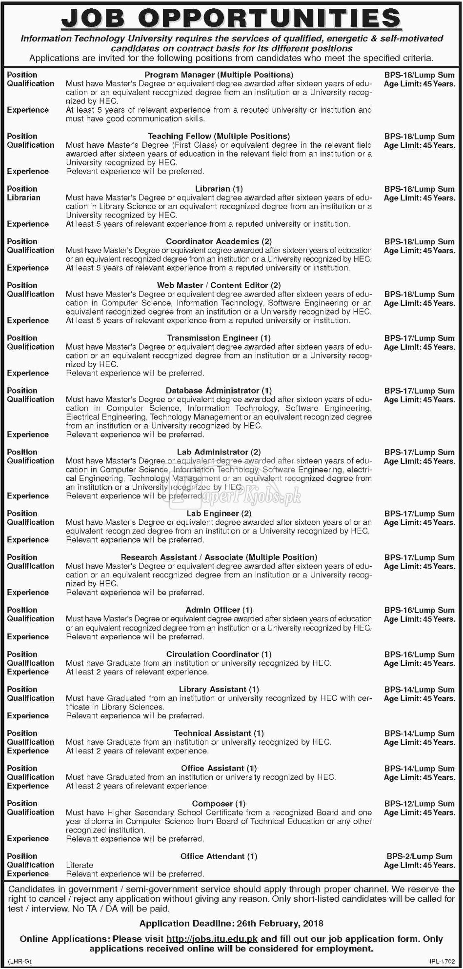 Information Technology University ITU Lahore Jobs 2018