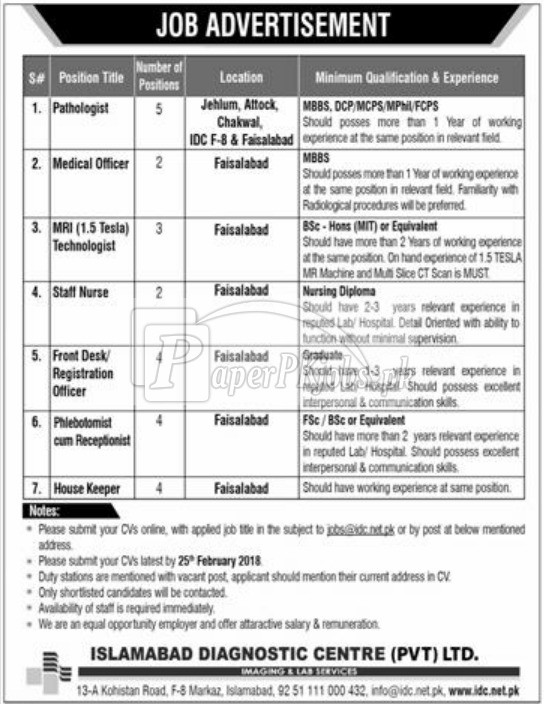 Islamabad Diagnostic Centre Pvt. Ltd. Jobs 2018