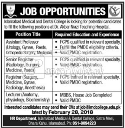 Islamabad Medical & Dental College Jobs 2018