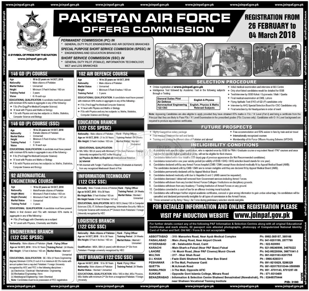 Join Pakistan Air Force PAF 2018