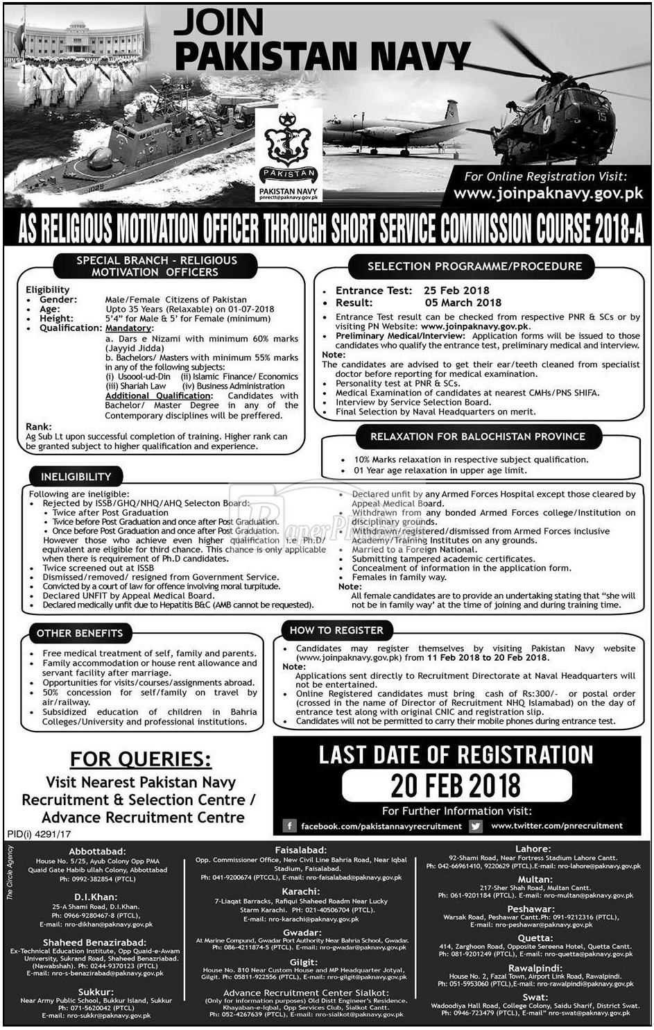 Join Pakistan Navy as Religious Motivation Officer 2018