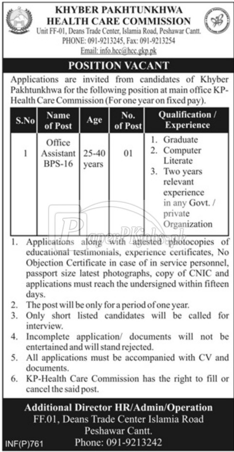 KPK Health Care Commission Jobs 2018