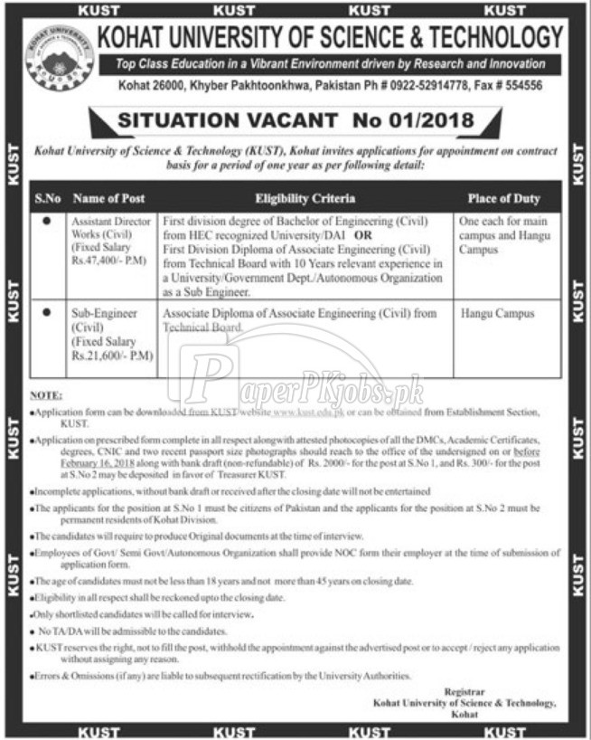 Kohat University of Science & Technology Kust Jobs 2018
