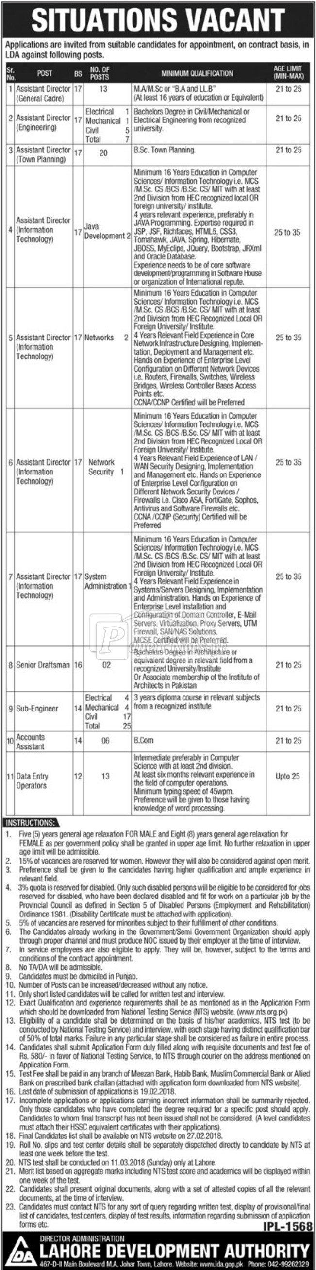 Lahore Development Authority LDA NTS Jobs 2018