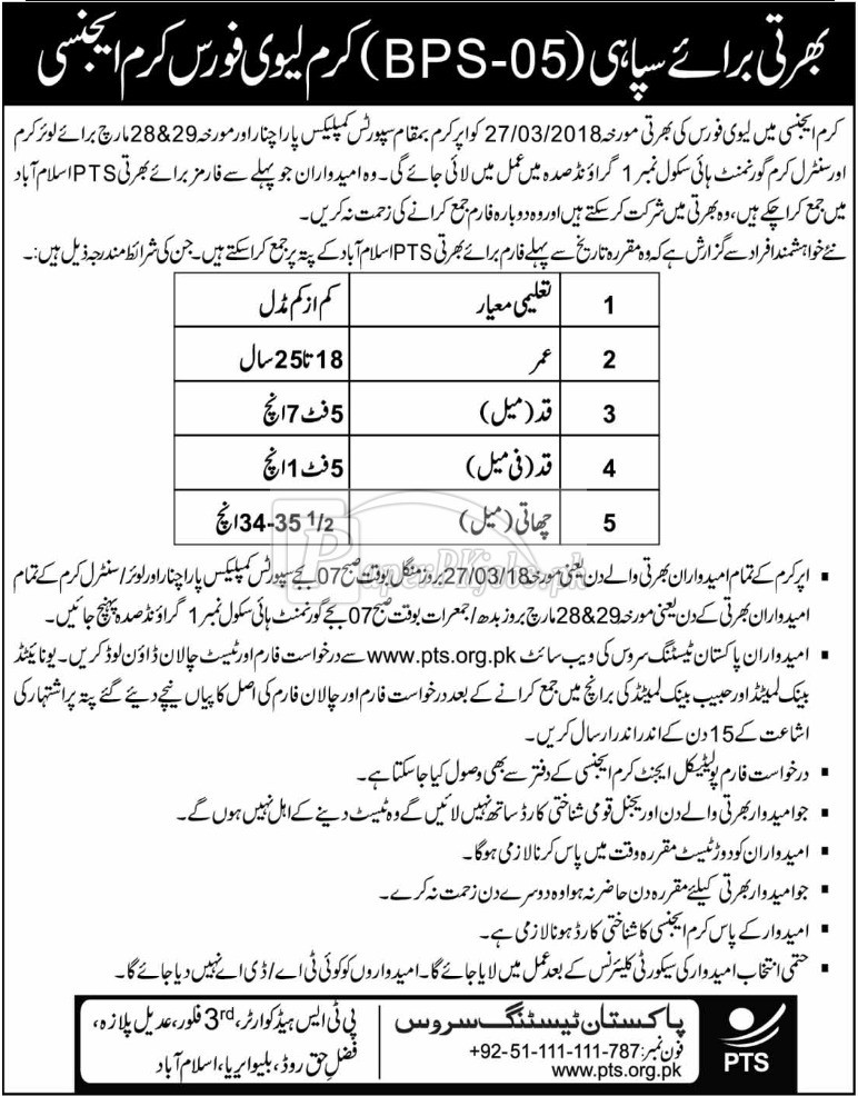 Levies Force Kurram Agency Jobs 2018
