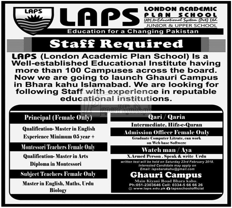 London Academic Plan School Jobs 2018