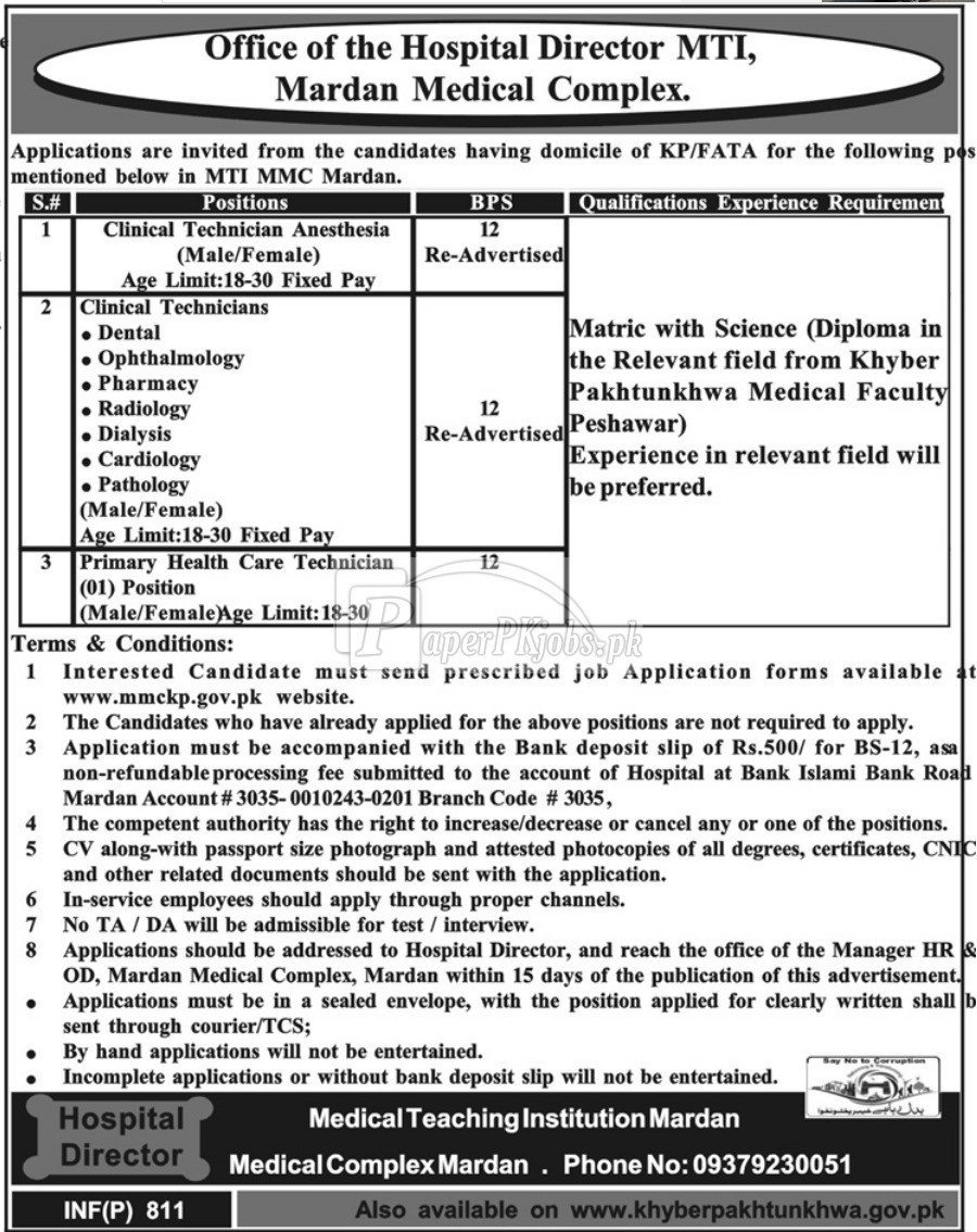 MTI Mardan Medical Complex KPK Jobs 2018