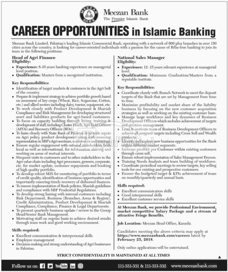 Meezan Bank Jobs 2018