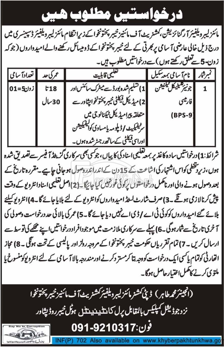 Mines Labour Welfare Organization Peshawar KPK Jobs 2018