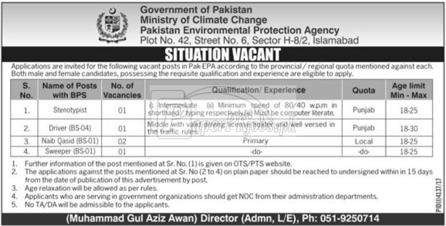 Ministry of Climate Change Islamabad Jobs 2018