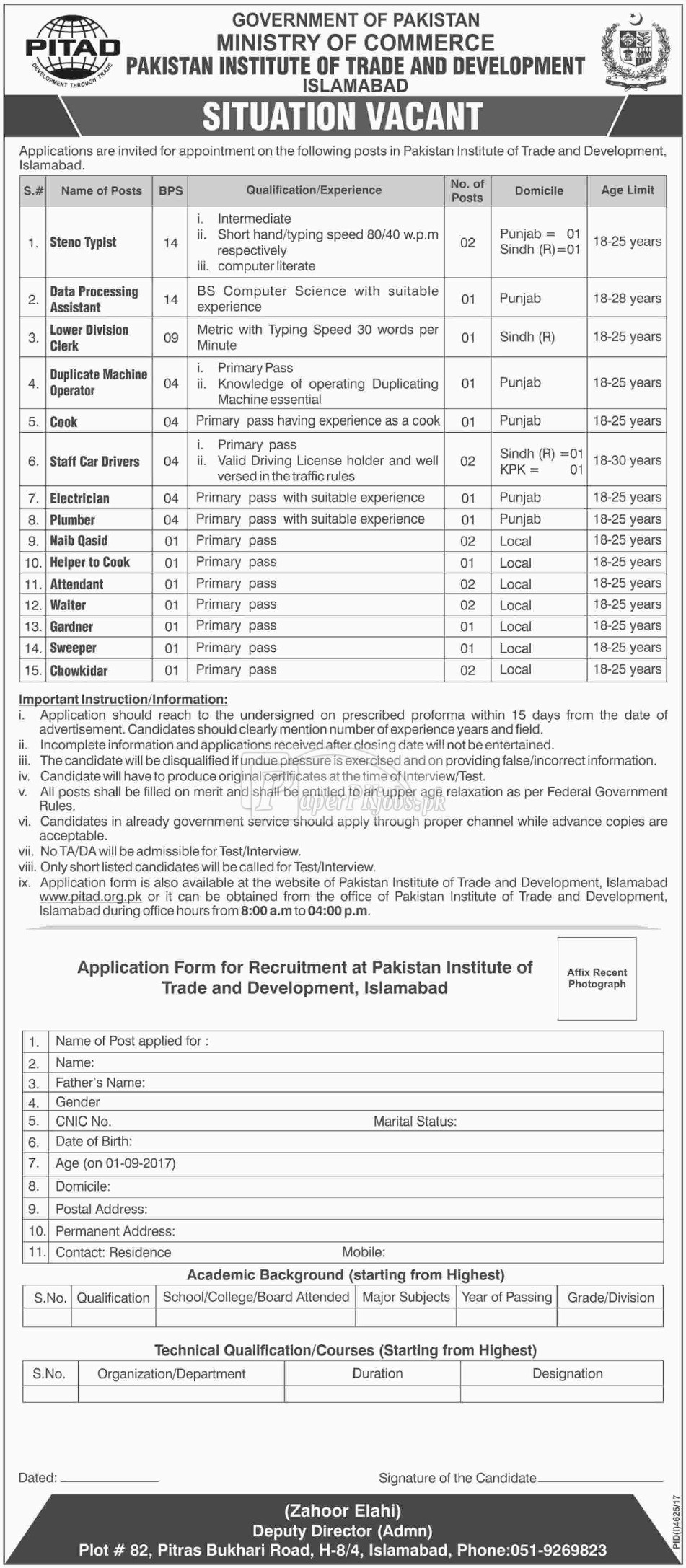 Ministry of Commerce Government of Pakistan Jobs 2018
