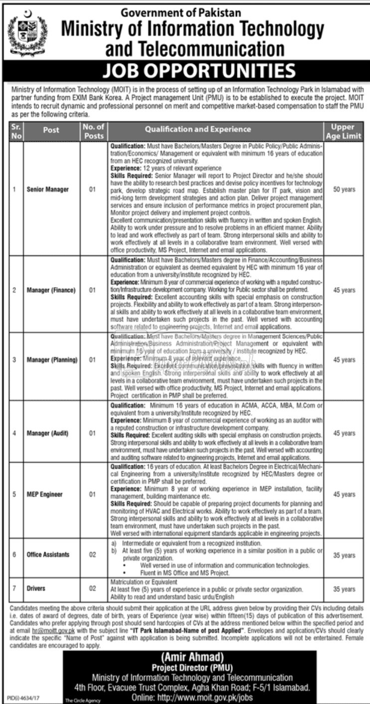 Ministry of Information Technology & Communication Jobs 2018