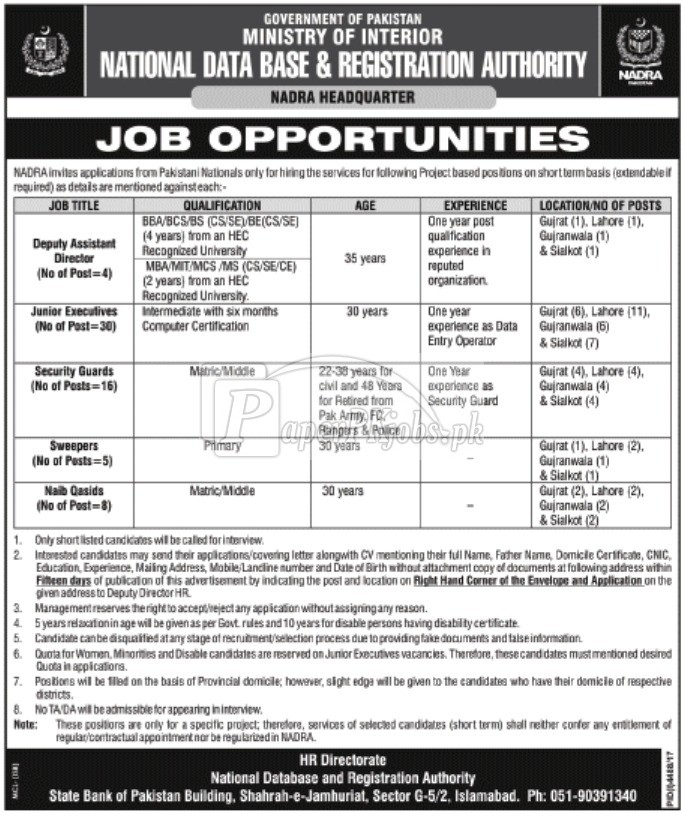 NADRA Headquarter Jobs 2018