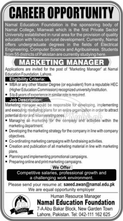 Namal Education Foundation Jobs 2018