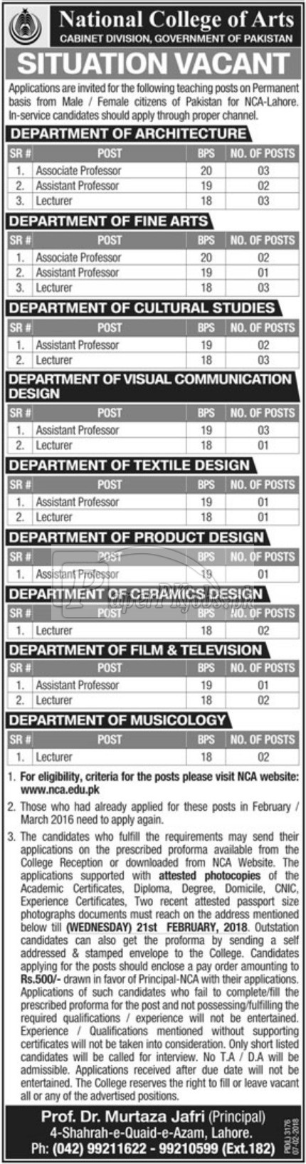 National College of Arts Lahore Jobs 2018
