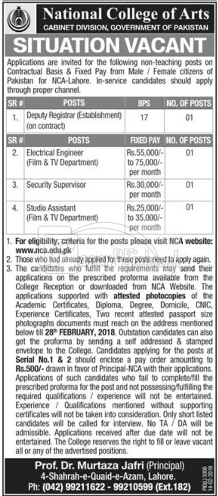 National College of Arts NCA Jobs 2018
