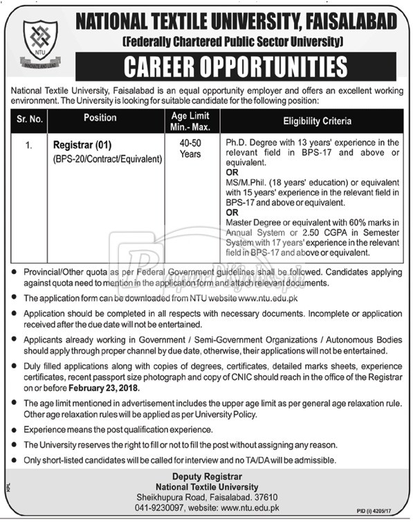 National Textile University NTU Faisalabad Jobs 2018