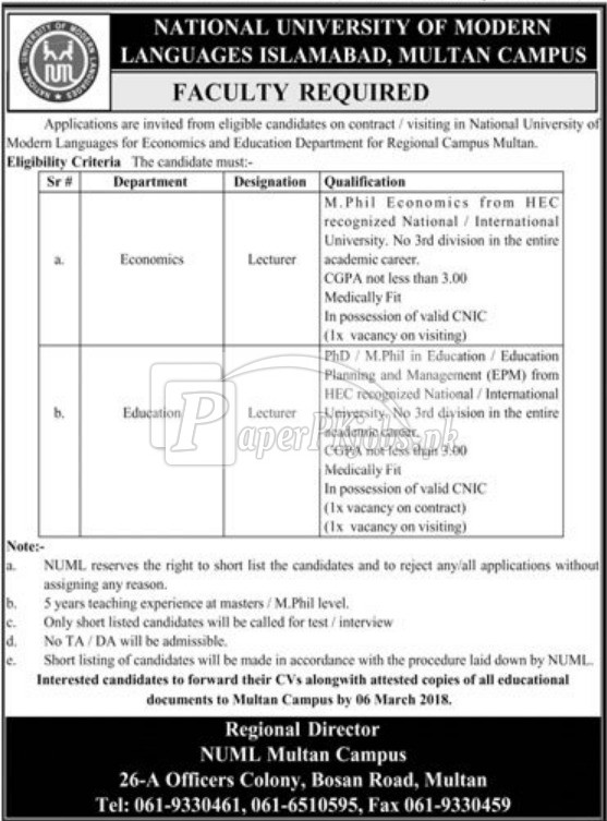 National University of Modern Languages NUML Jobs 2018