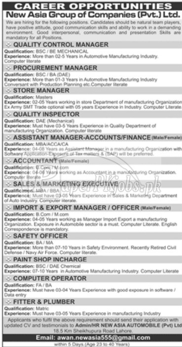 New Asia Group of Companies Pvt Ltd Jobs 2018