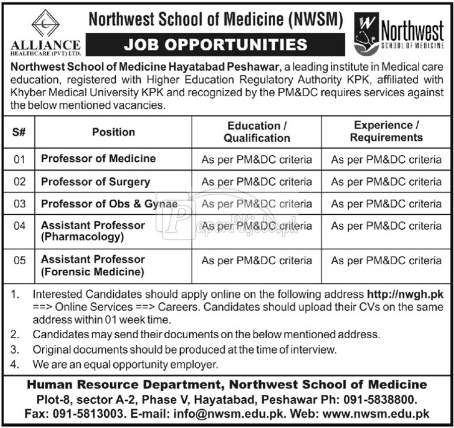 Northwest School of Medicine NWSM Peshawar KPK Jobs 2018