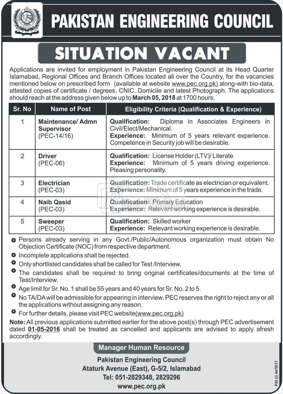 Pakistan Engineering Council PEC Jobs 2018