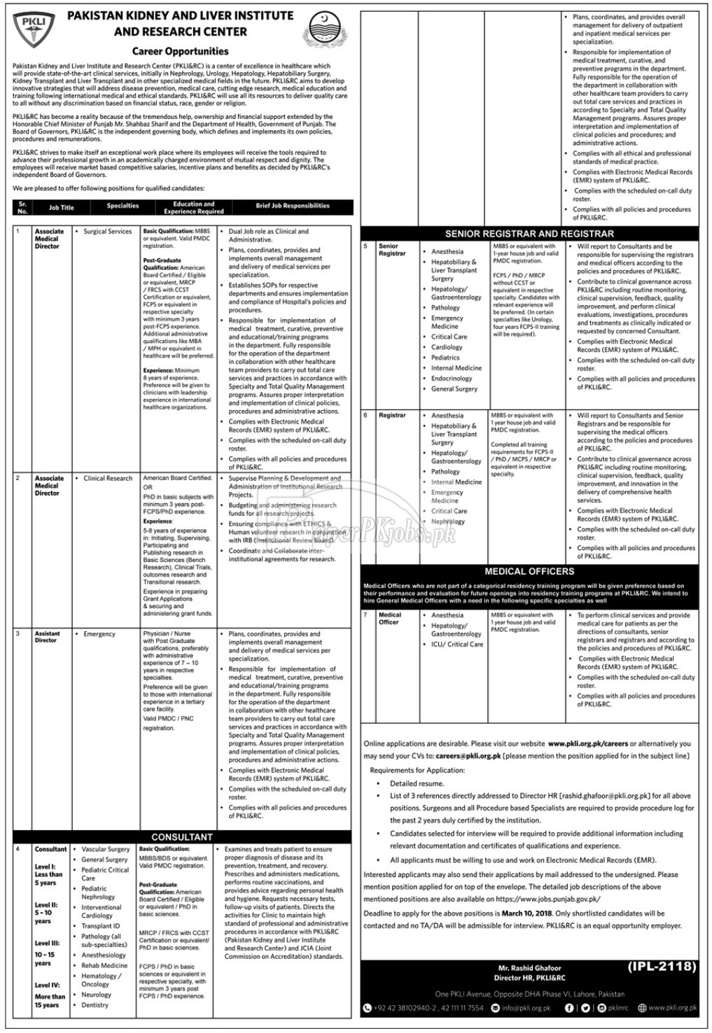 Pakistan Kidney and Liver Institute PKLI Jobs 2018