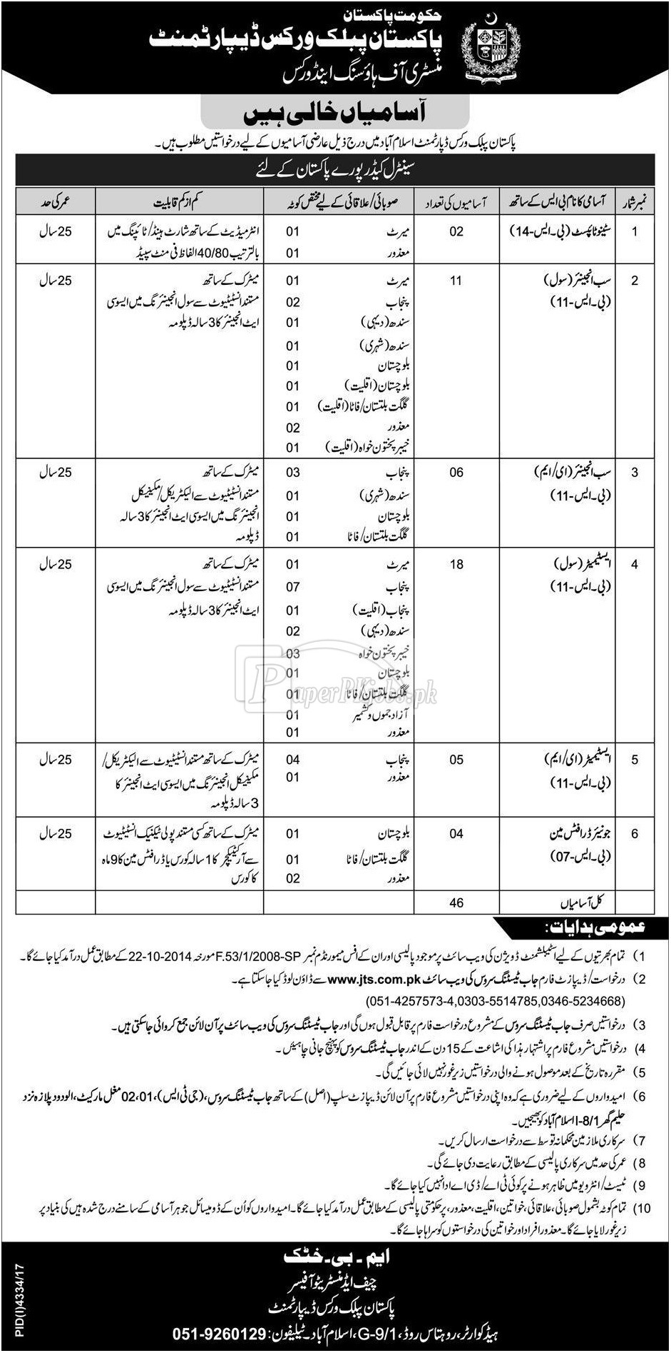 Pakistan Public Works Department PWD Jobs 2018