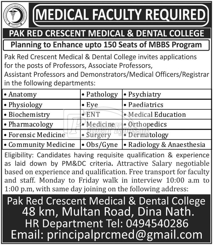 Pakistan Red Crescent Medical & Dental College Jobs 2018(1)