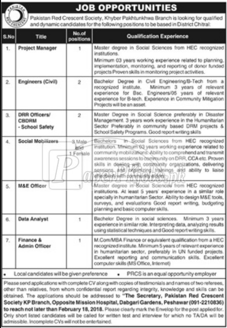 Pakistan Red Crescent Society KPK Jobs 2018