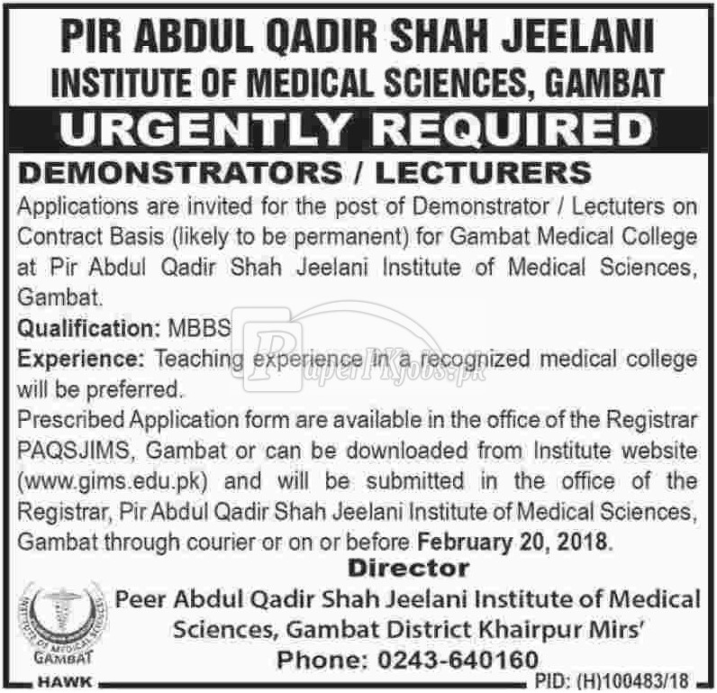 Pir Abdul Qadir Shah Jeelani Institute of Medical Sciences Gambat Jobs 2018