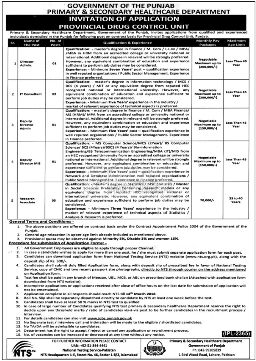 Primary & Secondary Healthcare Department Punjab Jobs 2018(1)