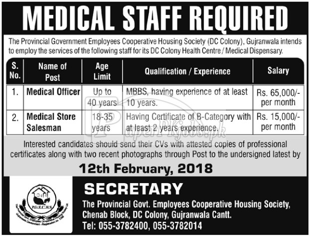 Provincial Government Employees Cooperative Housing Society Gujranwala Jobs 2018