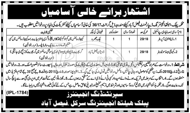 Public Health Engineering Department Faisalabad Jobs 2018