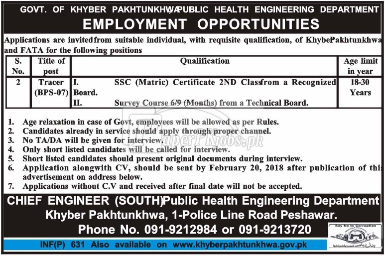 Public Health Engineering Department Peshawar KPK Jobs 2018