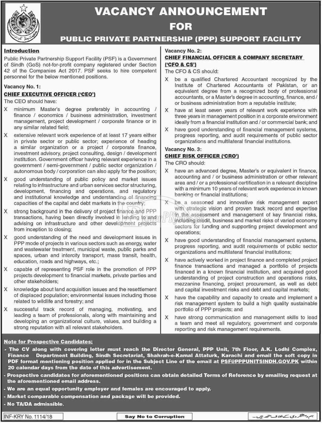 Public Private Partnership Support Facility Sindh Jobs 2018