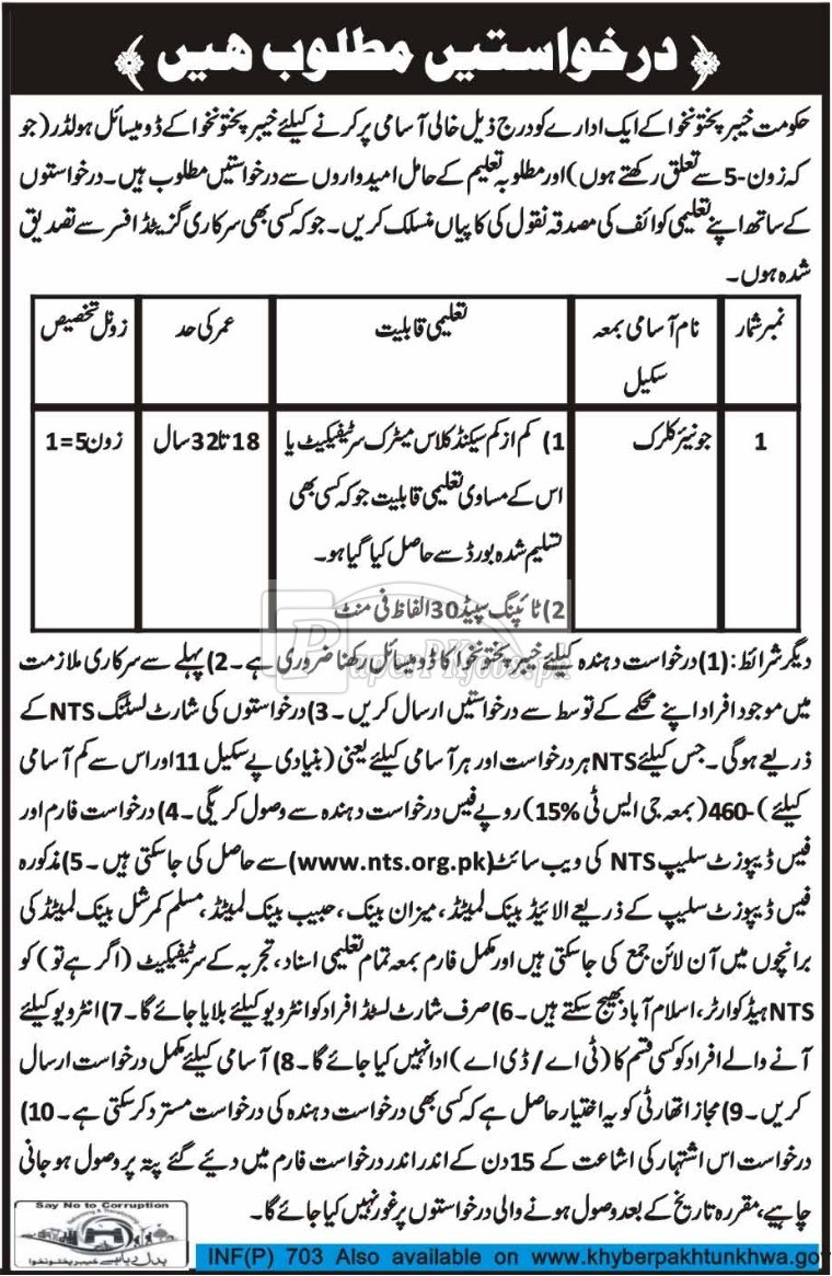Public Sector Organization KPK NTS Jobs 2018