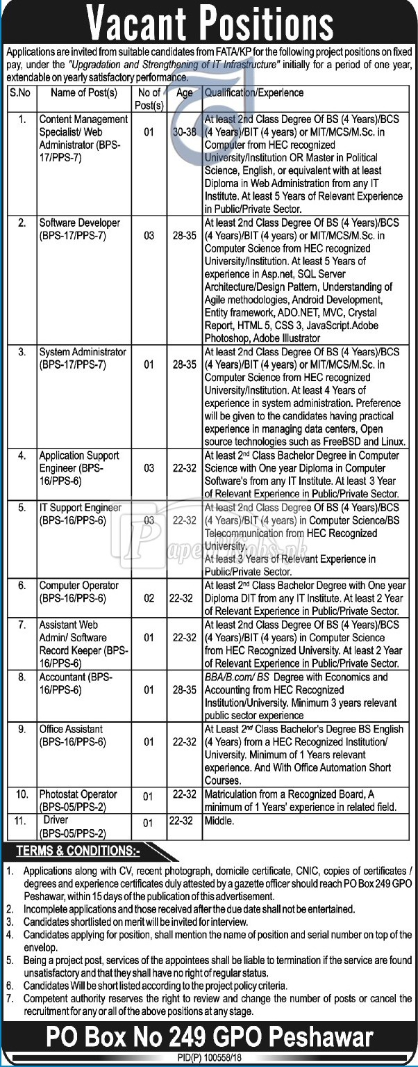 Public Sector Organization P.O.Box 249 Peshawar Jobs 2018