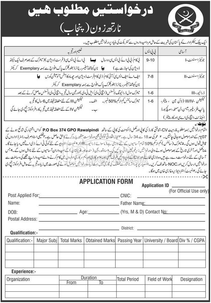 Public Sector Organization P.O.Box 374 Rawalpindi Jobs 2018