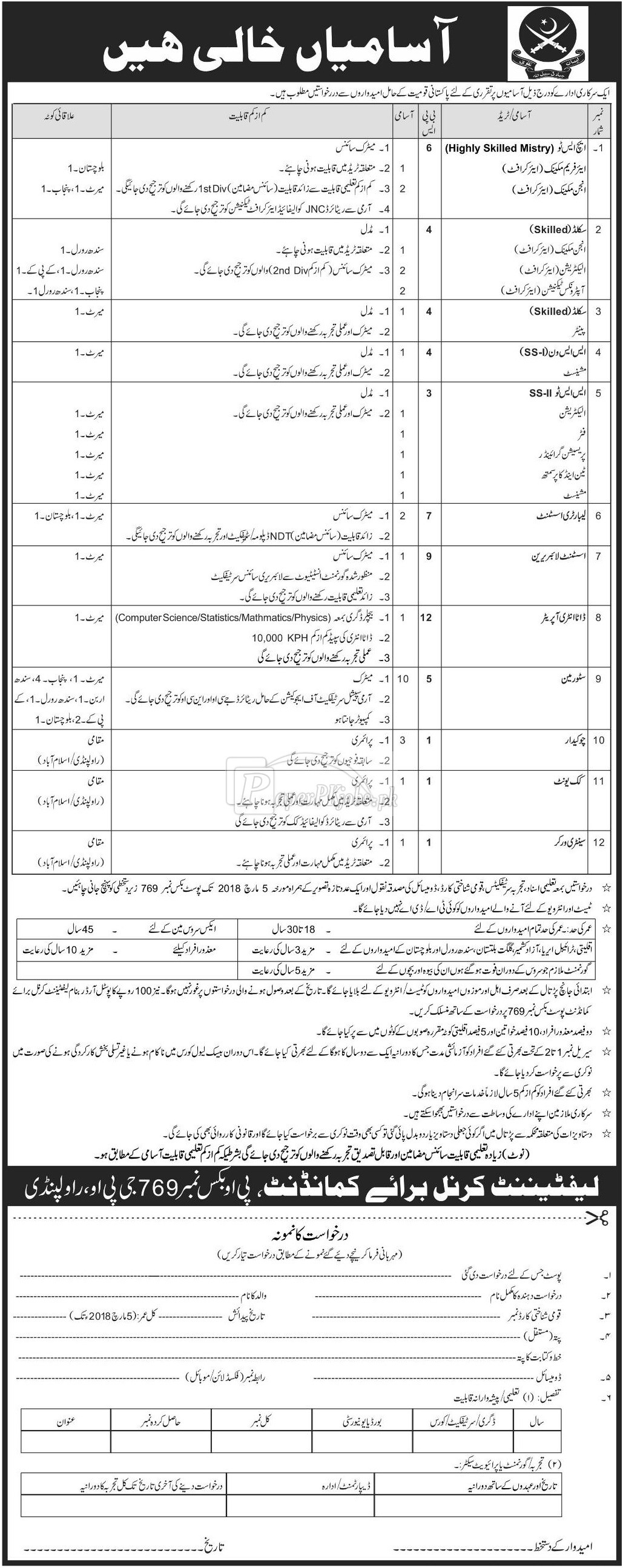 Public Sector Organization P.O.Box 769 Rawalpindi Jobs 2018