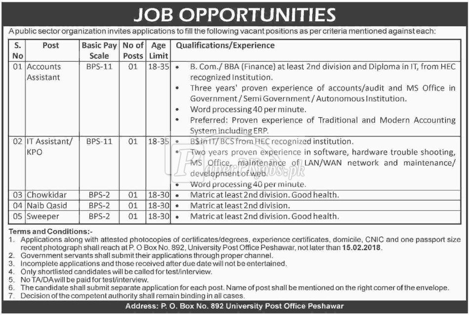 Public Sector Organization P.O.Box 892 Peshawar Jobs 2018