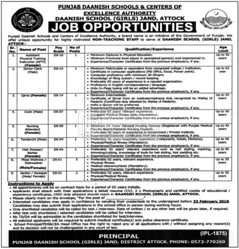 Punjab Daanish Schools Government of Punjab Jobs 2018