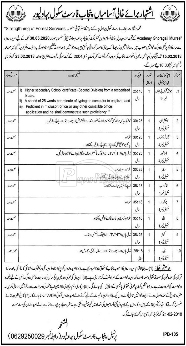 Punjab Forest School Bahawalpur Jobs 2018