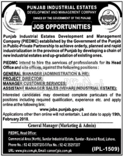 Punjab Industrial Estates Development & Management Company Jobs 2018