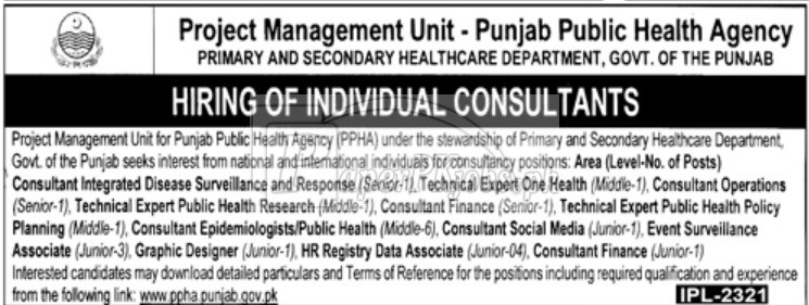 Punjab Public Health Agency PPHA Jobs 2018