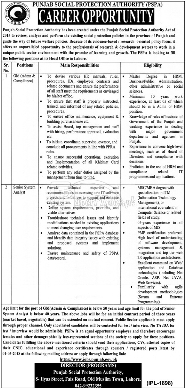 Punjab Social Protection Authority PSPA Jobs 2018