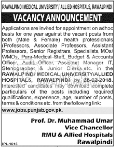 Rawalpindi Medical University & Allied Hospitals Jobs 2018