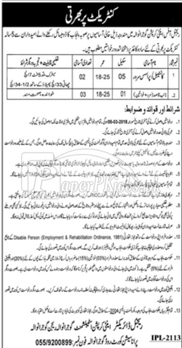 Regional Office Anti Corruption Gujranwala Jobs 2018