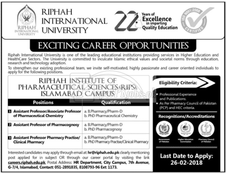 Riphah International University Jobs 2018