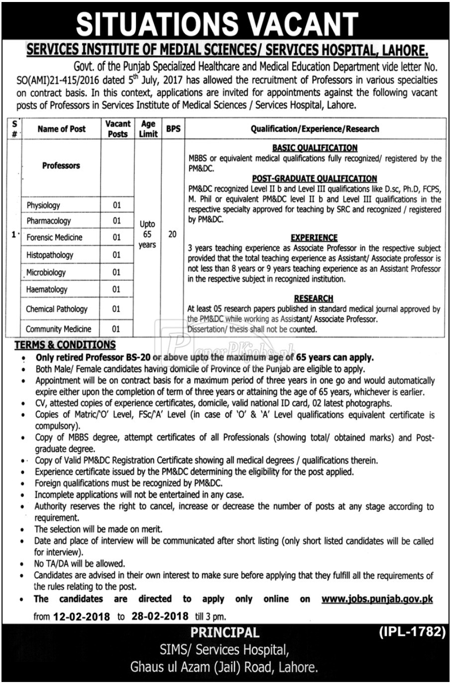 Services Hospital Lahore Jobs 2018